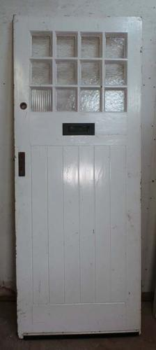 DE0656 AN EDWARDIAN ARTS & CRAFTS STYLE PINE GLAZED DOOR