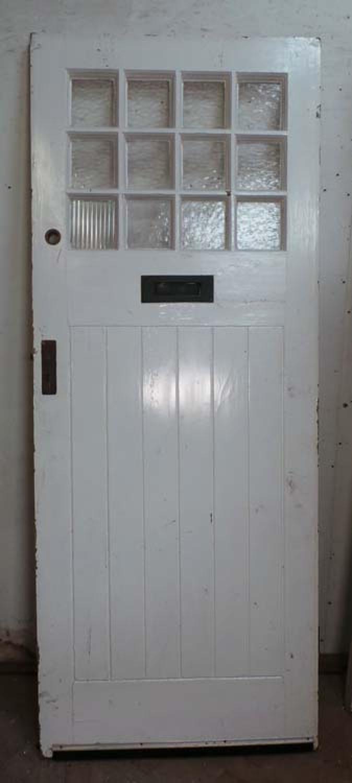DE0656 AN EDWARDIAN ARTS & CRAFTS STYLE PINE GLAZED DOOR