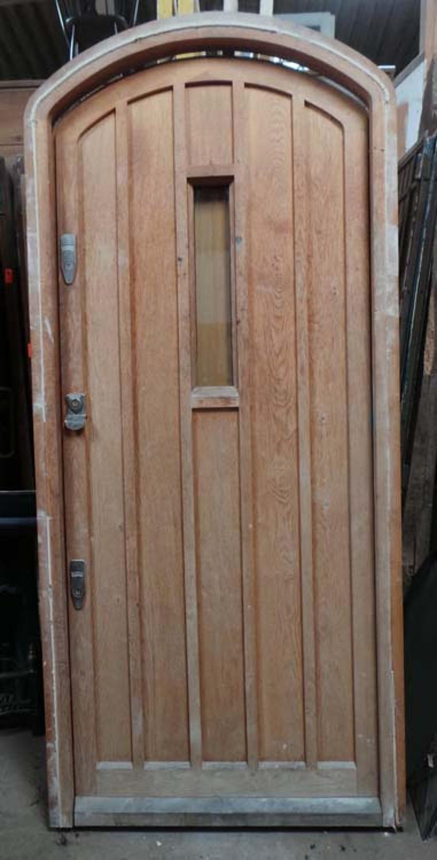DE0689 LOVELY LARGE SOLID OAK TUDOR/ARTS & CRAFTS STYLE DOOR & FRAME