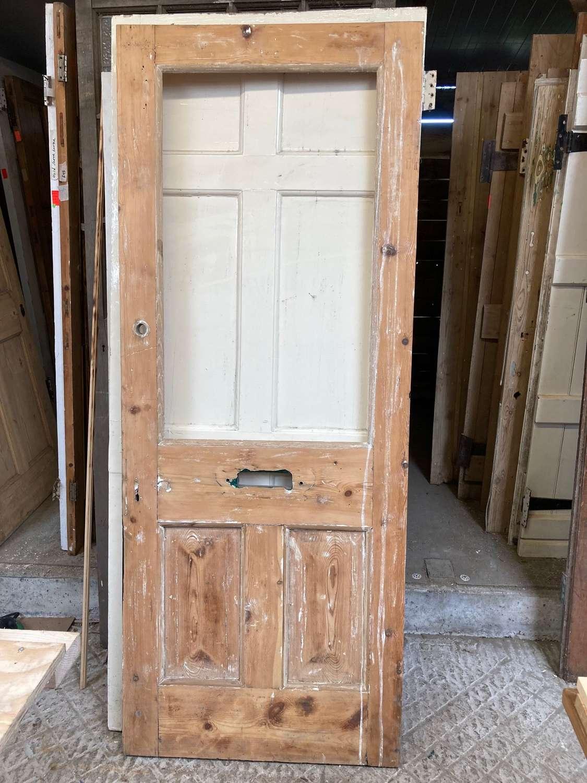 DE0698 LOVELY VICTORIAN PANELLED PINE DOOR FOR GLAZING