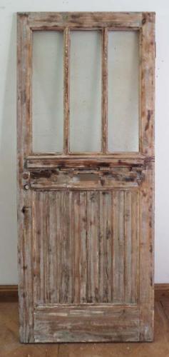DE0569 A LOVELY EDWARDIAN PINE GLAZED DOOR