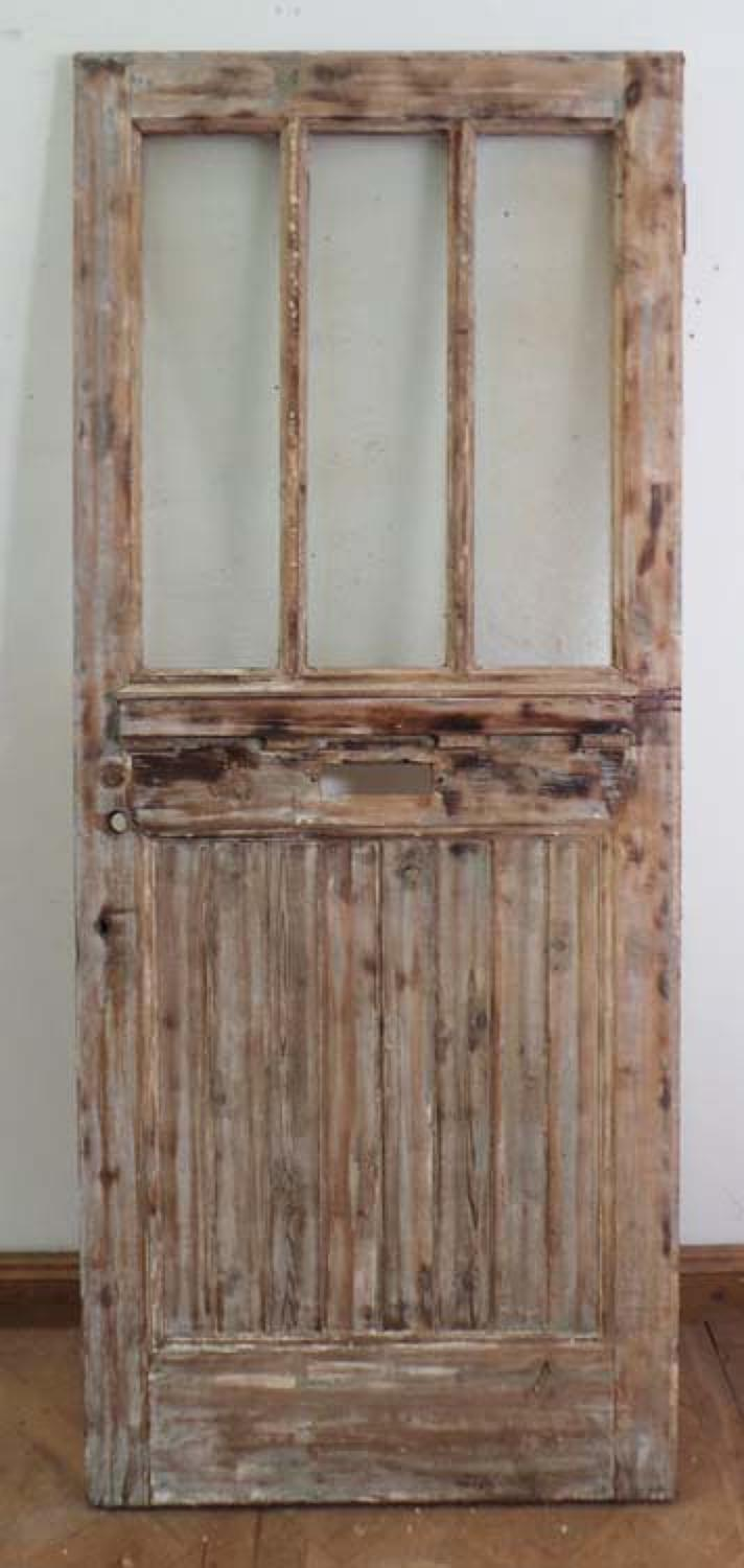 DE0569 A LOVELY EDWARDIAN PINE GLAZED DOOR