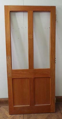 DI0464 LOVELY LATE VICTORIAN/EDWARDIAN PANELLED SOLID OAK GLAZED DOOR
