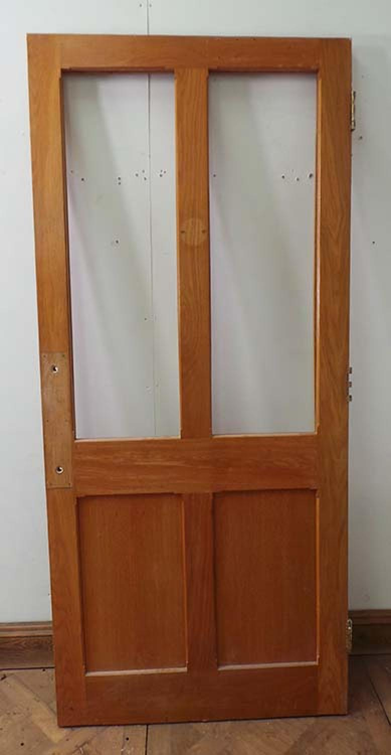DI0464 LOVELY LATE VICTORIAN/EDWARDIAN PANELLED SOLID OAK GLAZED DOOR