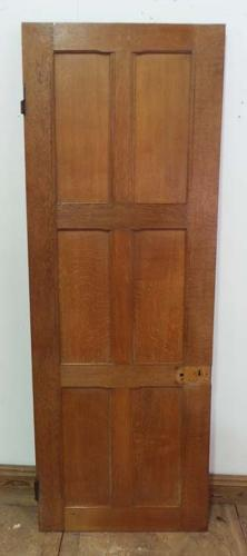 DI0472 LOVELY EDWARDIAN ARTS & CRAFTS STYLE OAK PANELLED DOOR