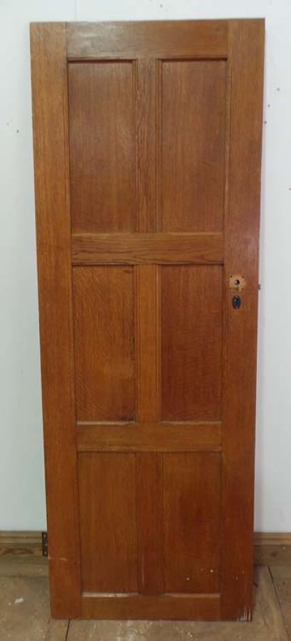 DI0473 LOVELY EDWARDIAN ARTS & CRAFTS STYLE OAK PANELLED DOOR