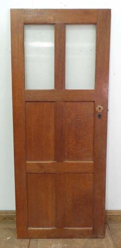 DI0474 LOVELY EDWARDIAN ARTS & CRAFTS STYLE OAK PANELLED GLAZED DOOR