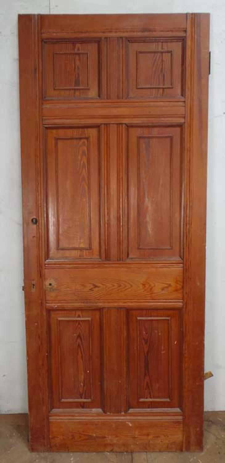 DI0502 VICTORIAN ARTS & CRAFTS STYLE SIX PANELLED PITCH PINE DOOR