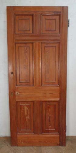 DI0503 VICTORIAN ARTS & CRAFTS STYLE SIX PANELLED PITCH PINE DOOR