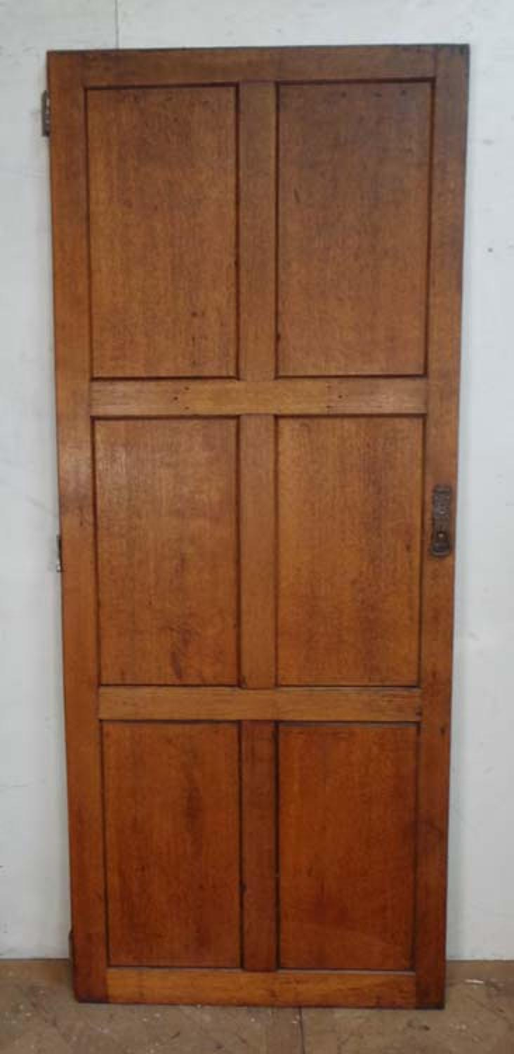 DI0504 LOVELY EDWARDIAN OAK ARTS & CRAFTS PANELLED DOOR