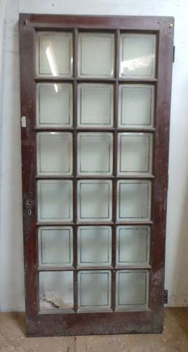 DI0516 LOVELY EDWARDIAN OAK DOOR WITH ETCHED GLAZED PANELS