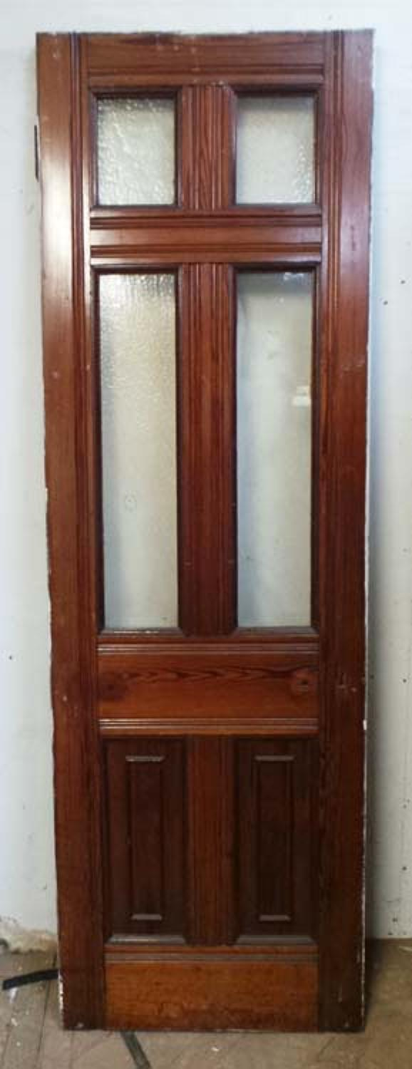 DI0536 VICTORIAN ARTS & CRAFTS STYLE SIX PANELLED PITCH PINE DOOR