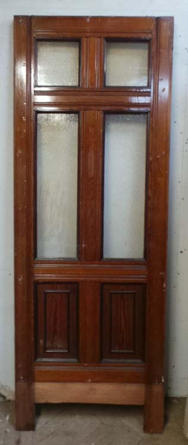 DI0537 VICTORIAN ARTS & CRAFTS STYLE SIX PANELLED PITCH PINE DOOR