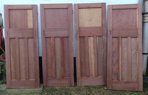 DI0546 SET OF 4 ORIGINAL EDWARDIAN PITCH PINE PANELLED DOORS