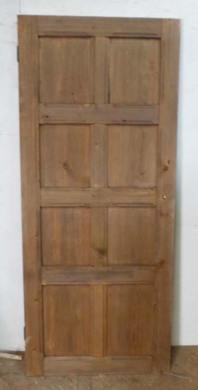 DI0552 EDWARDIAN ARTS & CRAFTS PITCH PINE PANELLED DOOR
