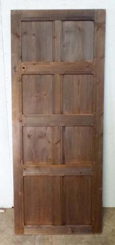 DI0553 EDWARDIAN ARTS & CRAFTS PITCH PINE PANELLED DOOR