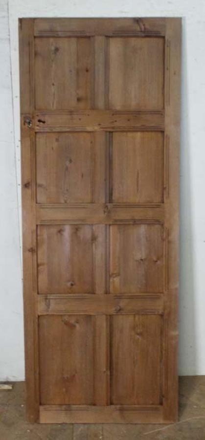DI0554 EDWARDIAN ARTS & CRAFTS PITCH PINE PANELLED DOOR
