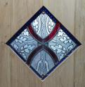 DI0575 STUNNING SOLID OAK LEDGED, PLANKED STAINED GLASS DOOR - picture 3