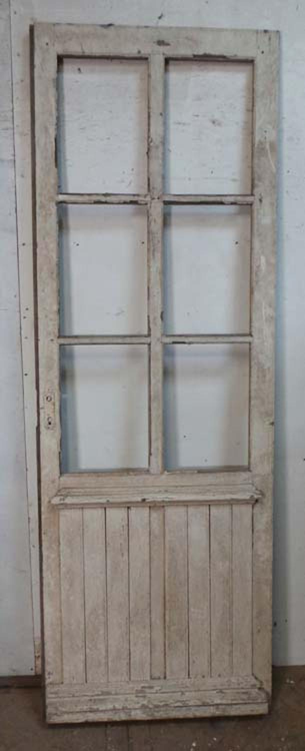 DI0596 A VICTORIAN FRENCH PINE DOOR FOR GLAZING