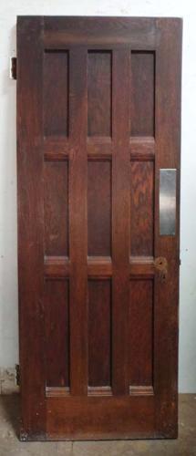 DI0605 UNUSUAL EDWARDIAN ARTS & CRAFTS STYLE OAK VENEERED DOOR