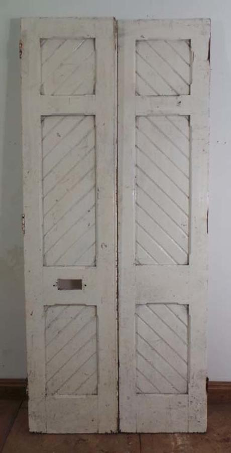 DP0130 FANTASTIC PAIR OF VICTORIAN GOTHIC PINE DOORS