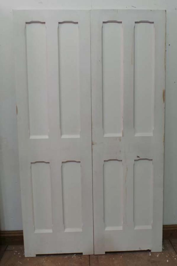 DP0135 LOVELY PAIR OF VICTORIAN GOTHIC STYLE PANELLED PINE DOORS