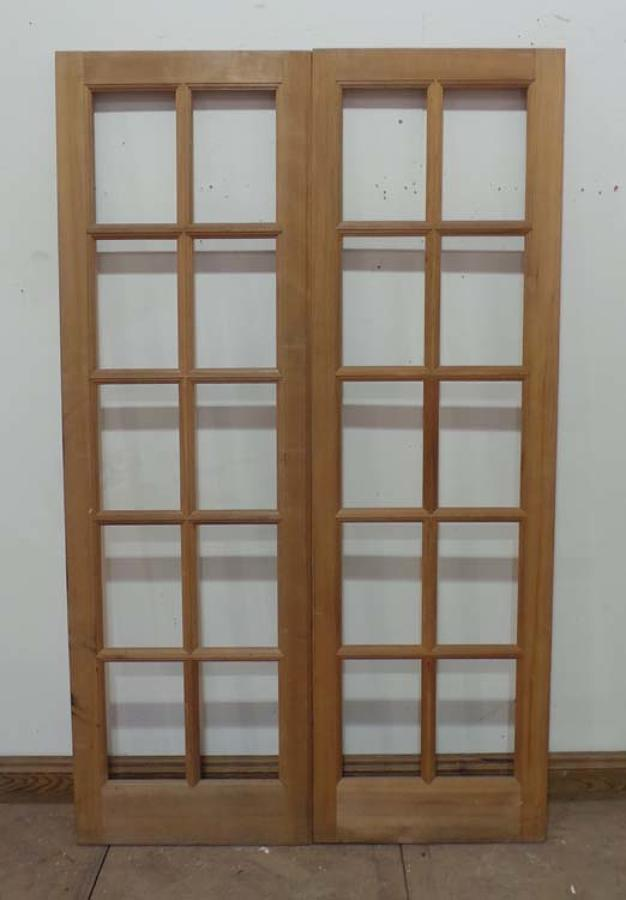 DP0140 LOVELY PAIR OF EDWARDIAN STYLE MODERN PINE FRENCH DOORS