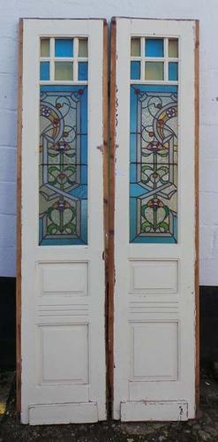DP0148 STUNNING PAIR OF EUROPEAN ART NOUVEAU STAINED GLASS DOORS