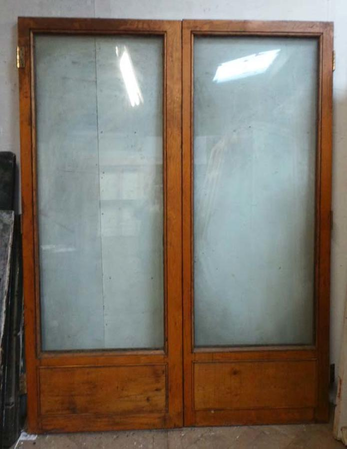 DP0177 LOVELY PAIR OF EDWARDIAN SOLID OAK DOUBLE GLAZED DOORS