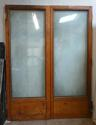 DP0177 LOVELY PAIR OF EDWARDIAN SOLID OAK DOUBLE GLAZED DOORS - picture 1
