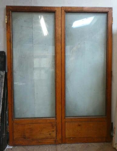 DP0177 LOVELY PAIR OF EDWARDIAN SOLID OAK DOUBLE GLAZED DOORS