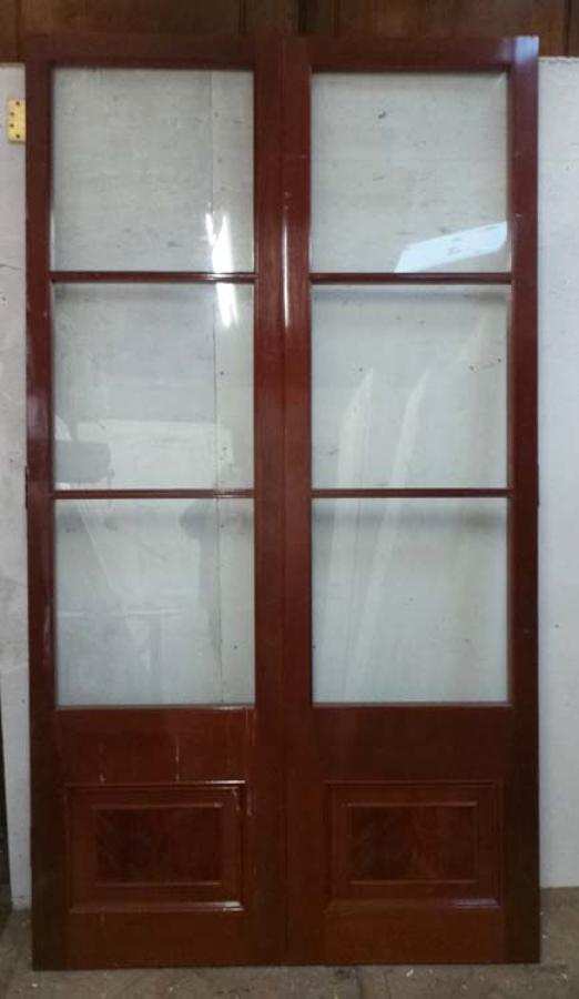 DP0183 LOVELY PAIR OF GLAZED VICTORIAN STYLE HARDWOOD DOORS