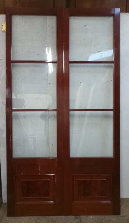 DP0183 LOVELY PAIR OF GLAZED VICTORIAN STYLE HARDWOOD DOORS