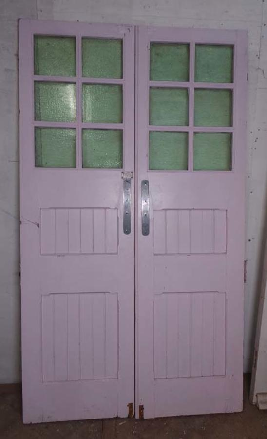 DP0184 LOVELY PAIR OF EDWARDIAN PANELLED PINE GLAZED DOORS