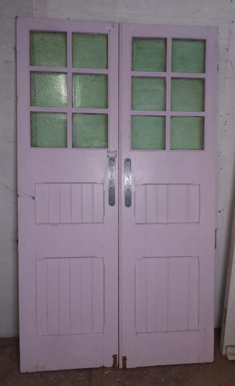 DP0184 LOVELY PAIR OF EDWARDIAN PANELLED PINE GLAZED DOORS