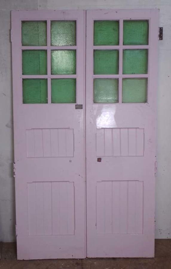DP0185 LOVELY PAIR OF EDWARDIAN PANELLED PINE GLAZED DOORS