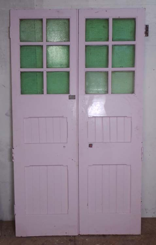 DP0185 LOVELY PAIR OF EDWARDIAN PANELLED PINE GLAZED DOORS