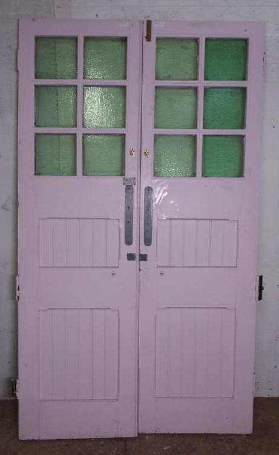 DP0186 LOVELY PAIR OF EDWARDIAN PANELLED PINE GLAZED DOORS