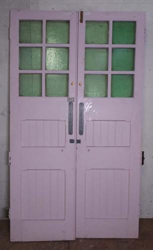 DP0186 LOVELY PAIR OF EDWARDIAN PANELLED PINE GLAZED DOORS