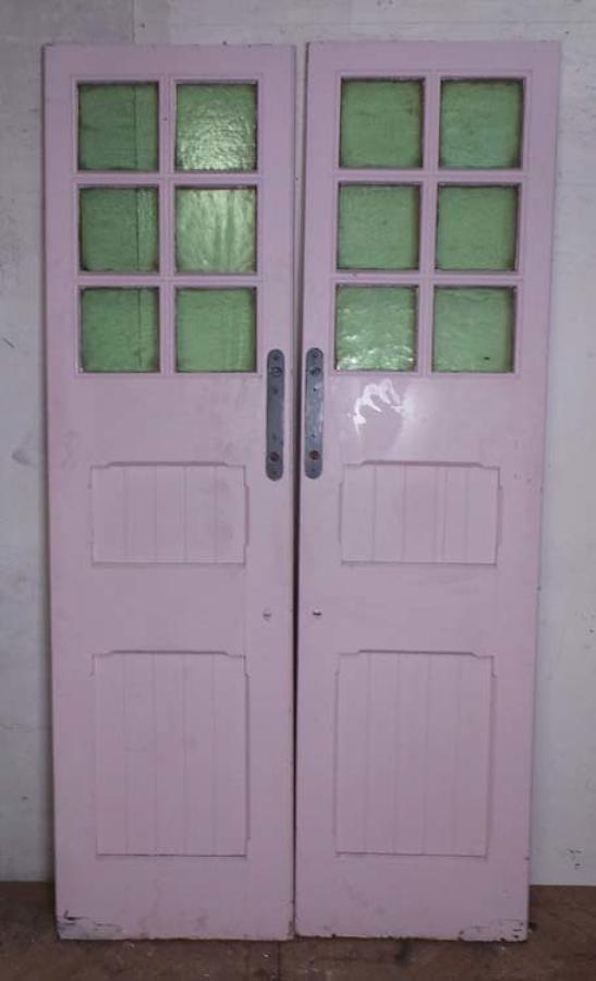 DP0187 LOVELY PAIR OF EDWARDIAN PANELLED PINE GLAZED DOORS