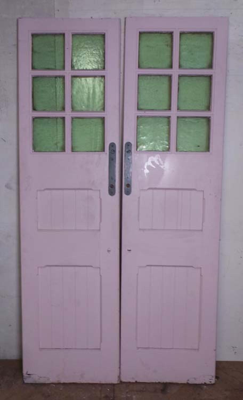 DP0187 LOVELY PAIR OF EDWARDIAN PANELLED PINE GLAZED DOORS