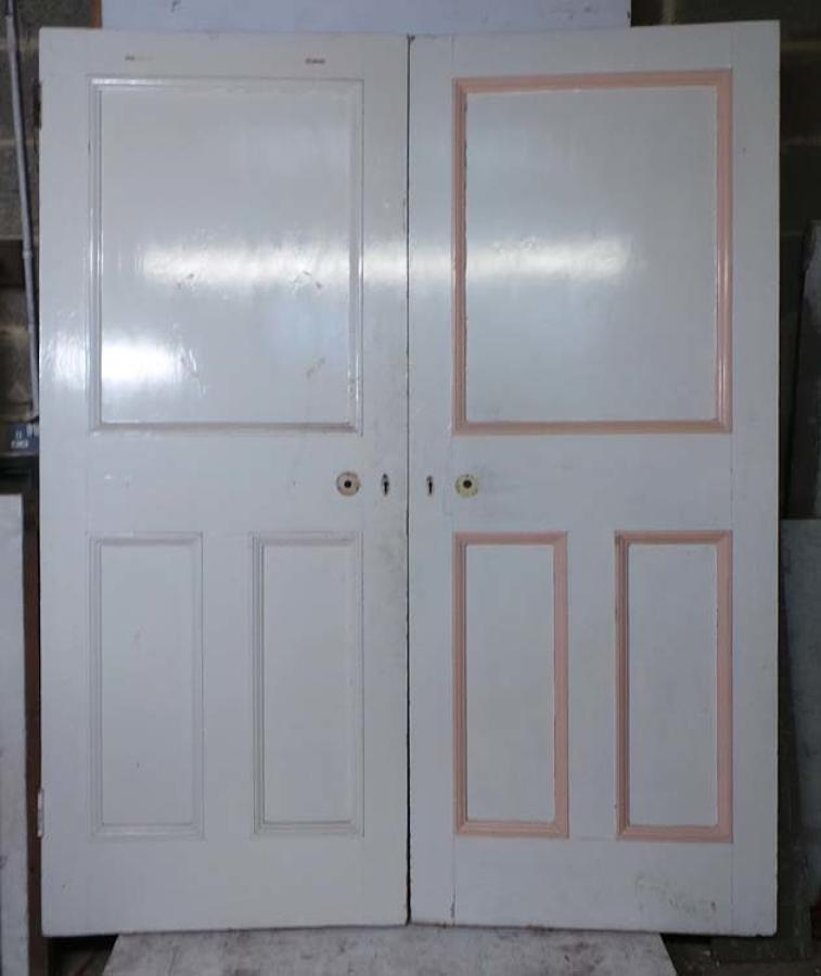 DP0217 PAIR OF UNUSUAL VICTORIAN PINE PANELLED DOORS