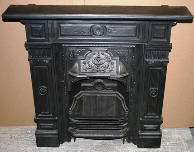 FC0018 A Large Antique Cast Iron Fireplace, c.1899