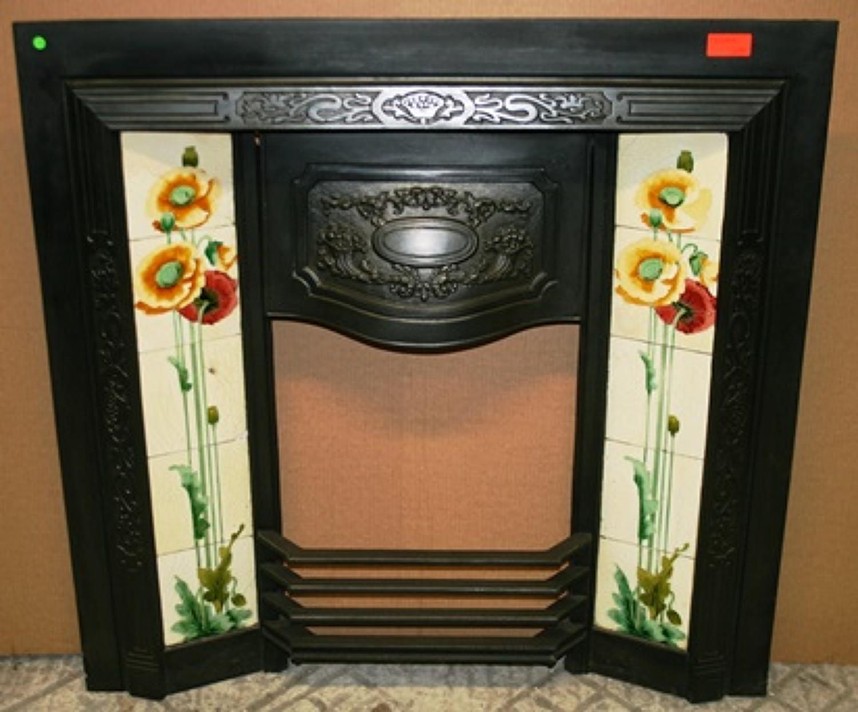 FI0004 An Art Nouveau Tiled Cast Iron Fire Insert w Poppy Design