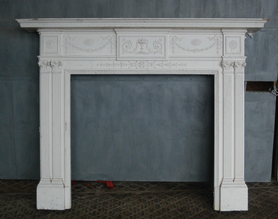 FS0016 Ornate Antique George II Style Wooden Fire Surround