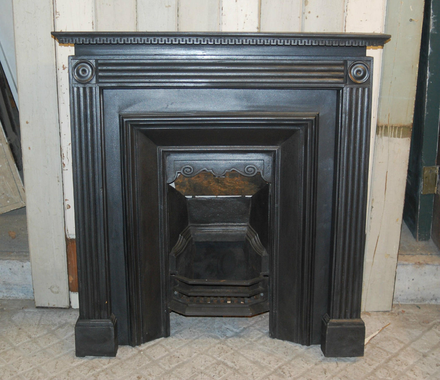 FS0026 A Stylish Reclaimed Satinwood Painted Fire Surround