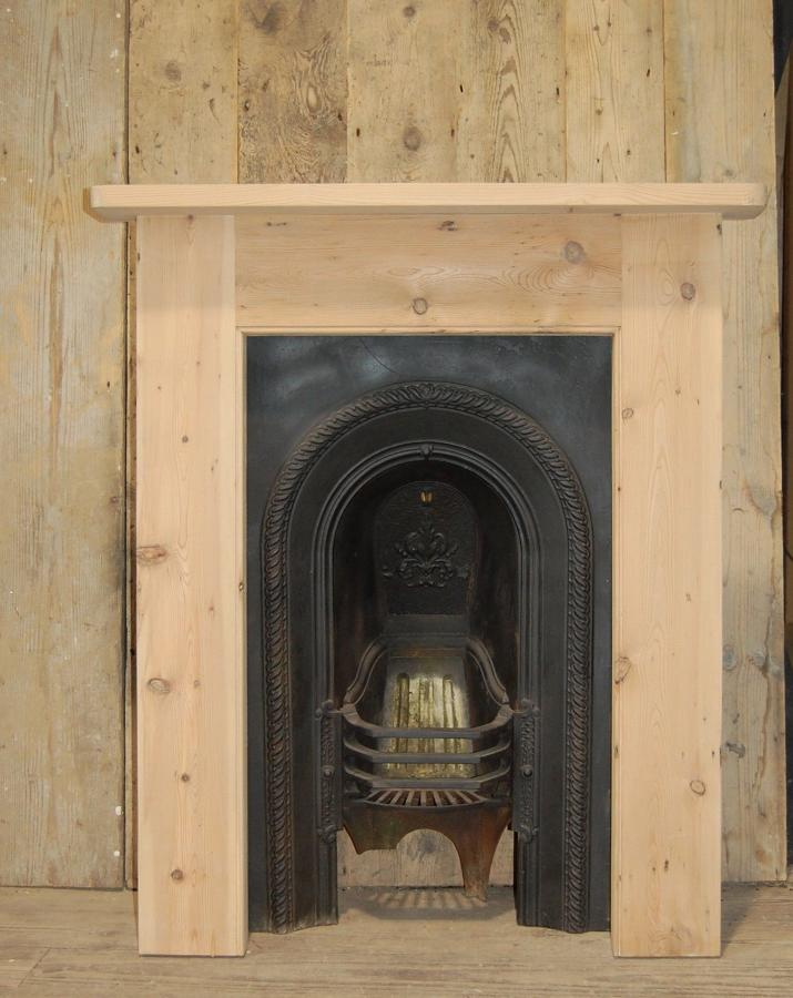 FS0023 Victorian Cast Iron Fire Insert and Reclaimed Pine Surround