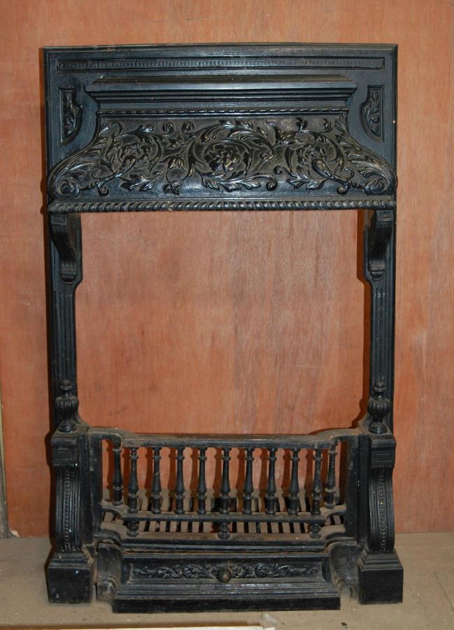 FI0010 Decorative Victorian Cast Iron Fire Insert with Canopy Smoke Ho