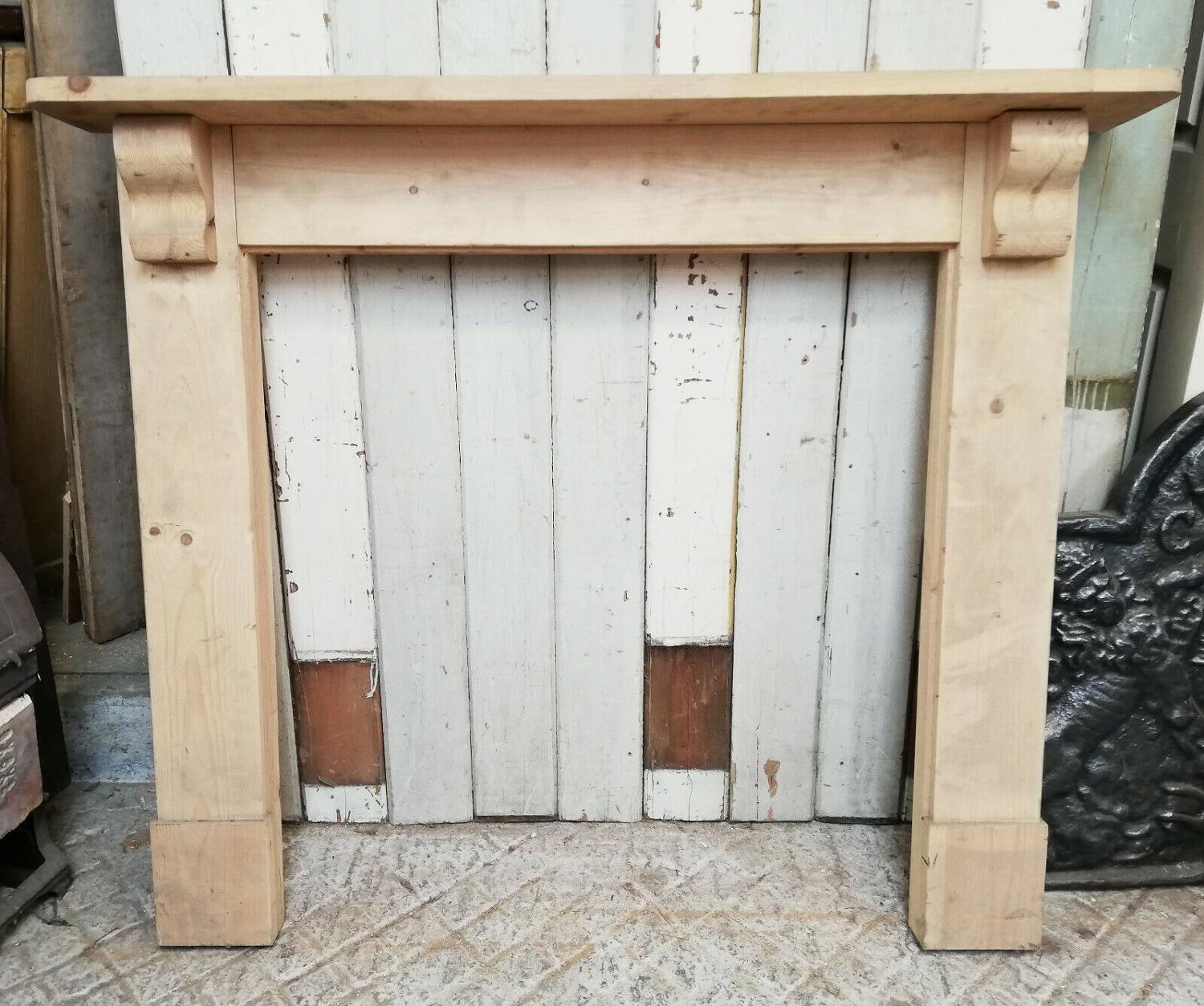 FS0025 RECLAIMED STRIPPED PINE FIRE SURROUND FOR WOODBURNER / BASKET