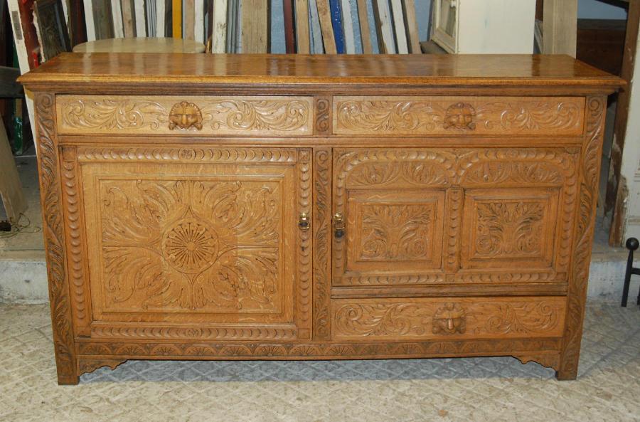 An Antique Carved Oak French Dresser Base  ref 840